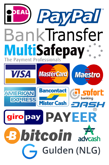 paypal bitcoin payeer advancedCash Multisafepay idealvisa mastercard maestro american Express sofort Banking Giro Pay Mr Cash Bank Overboeking gulden dashcoin